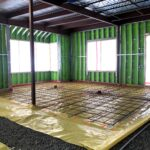 Heated floor of Play Space is installed